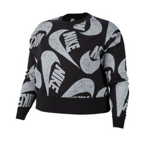 Nike Logo Print Crew Neck Sweatshirt (Plus Size)
